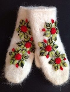 Cute mittens with embroidery. Sweater Mittens, Crochet Mittens, Crochet Gloves, Knitted Hats, Knit Crochet, Embroidery Patterns, Hand Embroidery, Knitting Patterns, Sewing Patterns