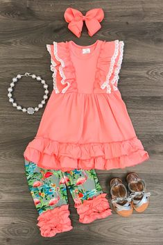 This+outfit+is+absolutely+stunning+and+so+cute+and+on+point+with+trends!+Coral+ruffle+tunic+top+paired+with+matching+flamingo+ruffle+capri's.+This+outfit+is+sure+to+turn+heads+and+has+a+high+designer+look,+without+the+designer+price!+So+on+point+with+trends!+This+is+a+must+for+your+little+fashion...