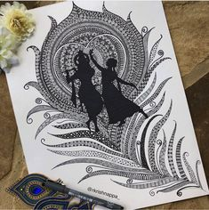 Radha Krishna on peacock feather art print wall decor Etsy # Doodle Art Drawing, Zentangle Drawings, Mandala Drawing, Art Drawings Sketches, Aztec Drawing, Doodle Doodle, Mandala Art Lesson, Mandala Artwork, Ganesha Art