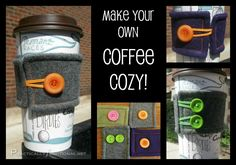 Make your own fun coffee cozys with felt, elastic, and buttons