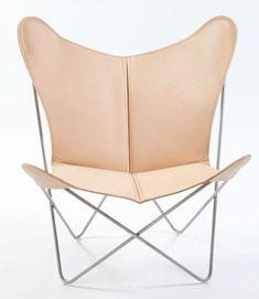 OxDenmarq Armchair Trifolium - Stainless Steel Frame - Leather - Nature |  Butterfly chairs DesignOnline24