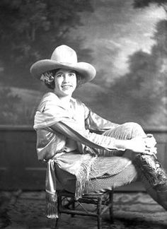 """Rose Smith, Cowgirl Portrait  circa 1930  Printed from original negative, silver gelatin dry plate, 7""""x5""""    Rose Smith was a trick and bronc rider. In 1923 at Ringling's Madison Square Garden contest, she won $960, including the $600 first prize in bronc riding, $185 day money (daily prizes), and $175 in the costume event. She was married to Oklahoma Curly Roberts."""