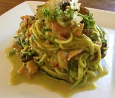 Also works without bacon  http://www-mammothkitchen.myshopify.com/blogs/mammoth-recipes/6471062-zucchini-noodles-with-basil-avocado-cream-sauce