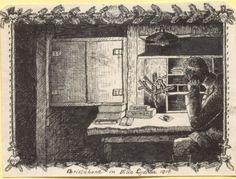 """""""Christabend in der Villa Lydia 1916"""", Tuschezeichnung: Der Betrachter sieht einen Soldaten, der an einem Schreibtisch sitzt und seinen Kopf auf die Tischplatte stützt. Vor ihm brennt eine Kerze an einem Tannenzweig. Auf dem Tisch befinden sich mehrere Pakete und das Bild einer Frau. Bestand 192-31, Nr. 60."""