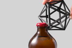 """Ico"" 3D Black Steel Bottle Opener OTHR"