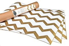 Gold chevron drawer liners by Hammocks & High Tea