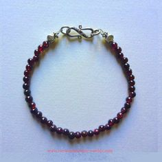 Bracelet Perles de Grenat. Unisexe. Arg massif 925. Garnet Bracelet | eBay