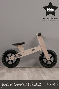 Boys Personalised Wooden Bike by Swedish Concepts - Natural Woodworking Toys, Woodworking Projects Diy, Wood Bike, Push Bikes, Balance Bike, Cool Bike Accessories, Kids Bike, Kids Wood, Montessori Toys