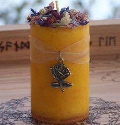 BRIGIDS SPRING BOUQUET Imbolc Ostara Sabbat Alchemy Bright Yellow Floral Pillar Candle w/ Sweet Daffodil, Larkspur, Roses, Jasmine & More.