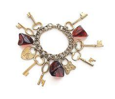 Bakelite Charm Bracelet Keys Charms Paris France Heart