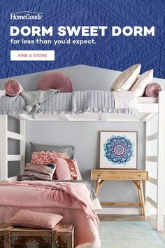 Deck out the dorm this fall with major savings on bedding, decor & more. From colorful, graphic pillows to wall art that pops and finds that keep everything organized, create a space they can their own, all at prices parents would be proud of. Head in to HomeGoods for unexpected finds for any study space. Dorm Room Designs, Room Design Bedroom, Room Ideas Bedroom, Girls Bedroom, Bedroom Decor, Bedding Decor, Sister Room, Beautiful Bedrooms, Room Inspiration