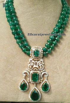 Emerald Beads with Diamond Locket