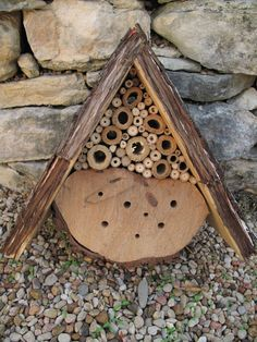 I have read that this attracts mason bees, I would love one in my yard.  We have a ton of bees now with our honeysuckle bushes.