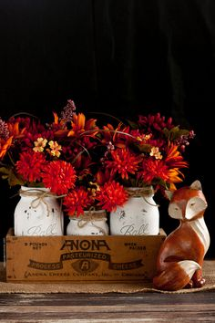 DIY Mason Jar Centerpiece for Fall! Easy to change customize for each season and holiday!