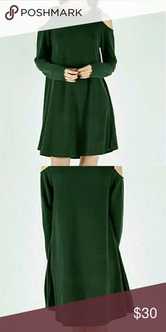 Coming soon! Forest Green Cold shoulder dress Beautiful forest green dress with cutout shoulder design.  Perfect for showering a little skin in the colder seasons. Fabric: cotton/polyester/spandex. LoveRiche Dresses Long Sleeve