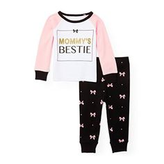 The Children's Place Baby Top and Pants Pajama Set, Black 91147, 18-24MONTH