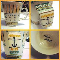 Sharpie mug diy. Sharpie Markers, Diy Sharpie Mug, Diy Ideas, Craft Ideas, World Crafts, Cute Cups, Sweet Ideas, Cute Pattern, Anchors