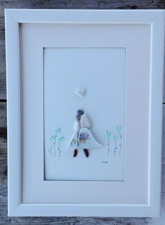 This item is unavailable Pebble Pictures, Art Pictures, Art Images, Sea Glass Art, Couple Art, Beach Art, Box Frames, Pebble Art, Gifts For Family