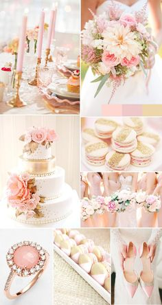 romantic rose pink and gold sequin wedding ideas