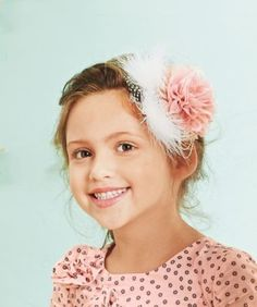 Enchanted Shimmer Designs Bella feathered flower headband on Chasing Fireflies