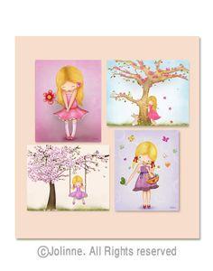 Set of 4 art prints  for girls room, nursery decor, childrens art on Etsy, $44.00