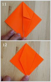 steps 11 and 12 showing how to fold an origami jack-o-lantern Origami Pumpkin, Paper Pumpkin, Crafts To Do, Arts And Crafts, Paper Crafts, Kid Art, Art For Kids, Origami Decoration, Bricolage