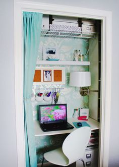 Removing the door and replacing it with a curtain is a great option for a very small cloffice (closet office).