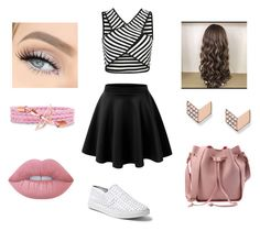 """""""Bez naslova #15"""" by semysemy ❤ liked on Polyvore featuring LE3NO, Steve Madden, Lime Crime and FOSSIL"""