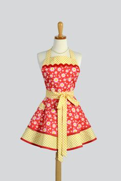 Apron Ruffled Retro Apron Sunny Yellow Gingham and Red Floral Vintage Style Apron CreativeChics, $45.00