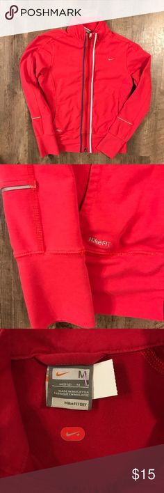 Nike dri fit zip up Fantastic condition. Awesome shade of red! Woman's medium. Zippers work great. Nike Tops Sweatshirts & Hoodies