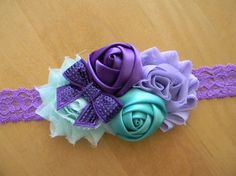 purple/lavender/sea foam shabby flower by GracieDevine on Etsy, $9.50 www.graciedevine.etsy.com
