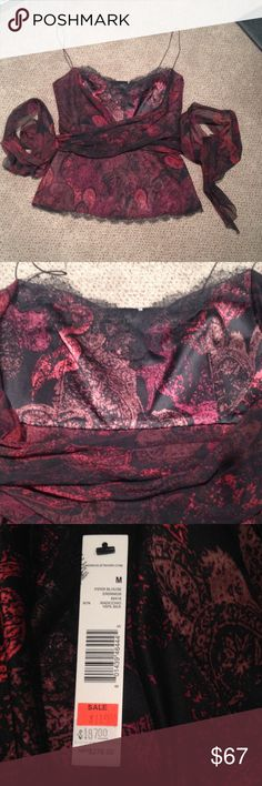 NWT Elie Tahari 100% silk party top Sz M New with a tag from Elie Tahari store black and red silk spaghetti strap top black silk lining side zipper lace at the bottom and front top, length - 23, width - 15 Elie Tahari Tops Tank Tops