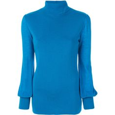 Erika Cavallini puff sleeve jumper ($405) ❤ liked on Polyvore featuring tops, sweaters, blue, jumpers sweaters, puff shoulder top, puffed sleeve top, jumper top and blue jumper