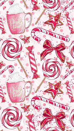 Merry Christmas Wallpaper, Holiday Wallpaper, Winter Iphone Wallpaper, Noel Christmas, Pink Christmas, Christmas Ideas, Christmas Candy, Christmas Patterns, Christmas Stickers
