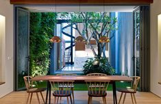 An indoor garden courtyard adds green lung to the indoors of this renovated shophouse in Singapore.