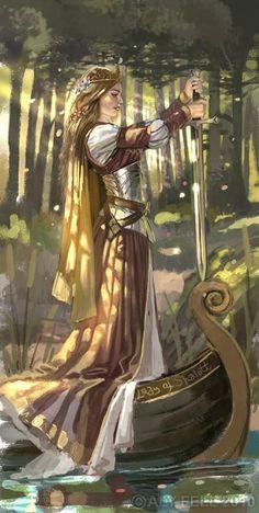 Lenda Arthuriana.Morgana segurando Excalibur