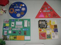 Great visual for shape days.  Cut out shapes from magazines, glue onto correct big shape alos use real items from around classroom like lego or block to put on collage.  Do as a group center.  then hang on wall for whole year