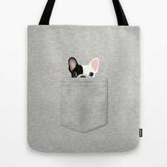 Pocket French Bulldog Tote Bag by Anne Was Here.