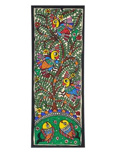 Tree of Life with Bird Painting x Madhubani Paintings Peacock, Kalamkari Painting, Madhubani Art, Worli Painting, Tree Of Life Painting, Indian Traditional Paintings, Indian Paintings, Traditional Art, Doodle Art Designs