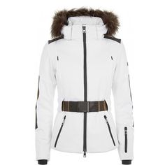Fendi Pequin White Ski Jacket With Fur Trim ($1,535) ❤ liked on Polyvore featuring outerwear, jackets, coats, fendi, tops, white stretchy belt, white jacket, white ski jacket, elastic belt and fur trim jacket