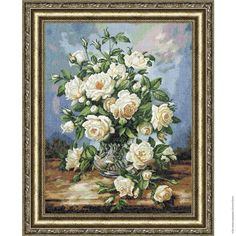 "New sealed embroidery cross stitch kit ""A bouquet of white roses."" by Russian manufacture Zolotoe Runo. High quality fabric and threads. Embroidery Kits, Cross Stitch Embroidery, Cross Stitch Patterns, White Rose Bouquet, White Roses, Counted Cross Stitch Kits, Cross Paintings, Cross Stitch Flowers, Pictures To Paint"