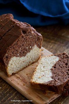 Vegan Cream Cheese Pound Cake. Marbled Vanilla Chocolate Cake. This pound cake is moist and dense | VeganRicha.com #vegan #cake #recipe.