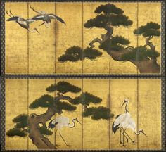 A pair of six-fold paper screens painted in ink and colour on a gold ground with tsuru (cranes) and matsu (pine trees). 17th century, Edo period