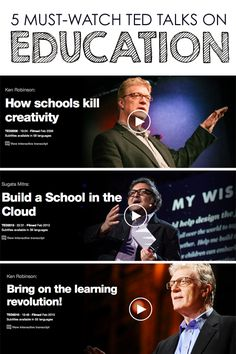 5 Must-Watch TED Talks on Education + Interview on Blended Learning *Love TED Talks. Saving this for later.