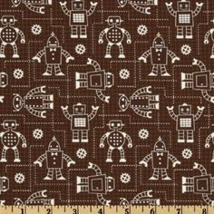 Amazon.com: 44'' Wide Robot Factory Organic Robot Schematics Brown Fabric By The Yard: Arts, Crafts & Sewing