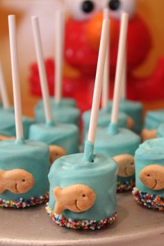 The coolest Sesame Street Party ideas, and how to implement them (These are Dorothy fishbowls...you know, Elmo's pet goldfish? Yeah. It's like that.)