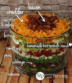 The Perfect Layered Salad - Spend With Pennies   This is a duplicate post for other pic but it show ingredients too! Nice touch don't you think? Makes me think it will be on my table next week...LOL ♥