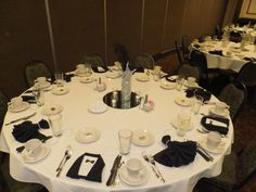 Black and White Ball napkins.  Black napkin tuxedo and dress.