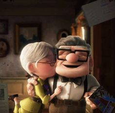 Ellie and Carl, the couple that made tears fill the eyes because of their love and what they went through -- Up