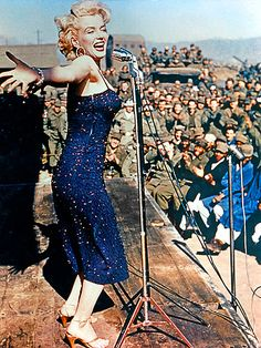 """In the middle of her 1954 honeymoon with second husband Joe DiMaggio, Monroe made a pit stop in Korea to serenade U.S. soldiers with """"Diamonds Are a Girl's Best Friend"""" – an event Monroe later described as """"the highlight of my life."""""""